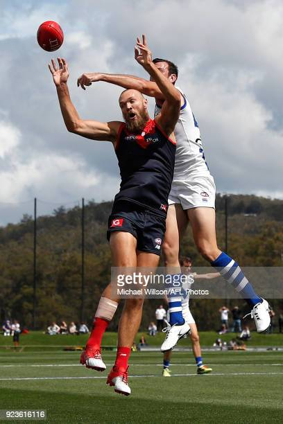 Max Gawn of the Demons and Todd Goldstein of the Kangaroos compete for the ball during the AFL 2018 JLT Community Series match between the North...