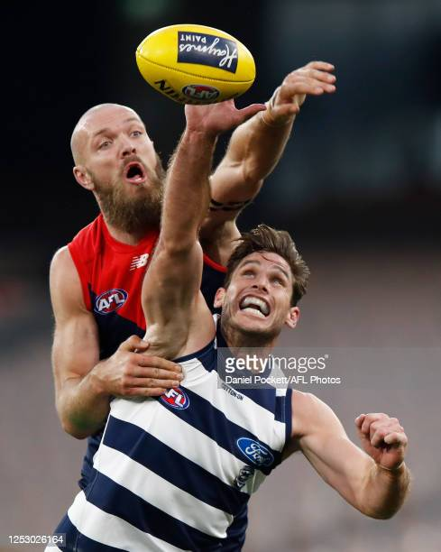 Max Gawn of the Demons and Tom Hawkins of the Cats contest the ruck during the round 4 AFL match between the Melbourne Demons and the Geelong Cats at...