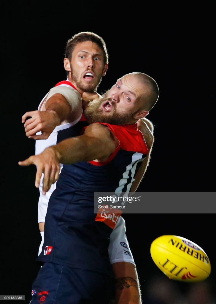 Max Gawn of the Demons and Tom Hickey of the Saints compete for the ball during the JLT Community Series AFL match between the Melbourne Demons and the St Kilda Saints at Casey Fields on March 8, 2018 in Melbourne, Australia.