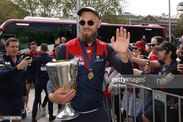 """Max Gawn of the Demons arrives for the AFL Premiership Team Celebrations at Forrest Place """"Footy Place"""" on September 26, 2021 in Perth, Australia."""