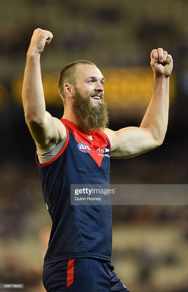 Max Gawn of the Demons celebrates after kicking a goal during the round 12 AFL match between the Melbourne Demons and the Collingwood Magpies at Melbourne Cricket Ground on June 13, 2016 in Melbourne, Australia.