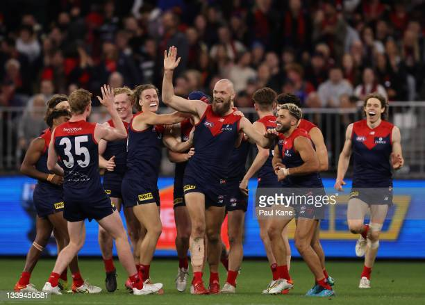 Max Gawn of the Demons celebrates after scoring a goal during the AFL First Preliminary Final match between Melbourne Demons and Geelong Cats at...