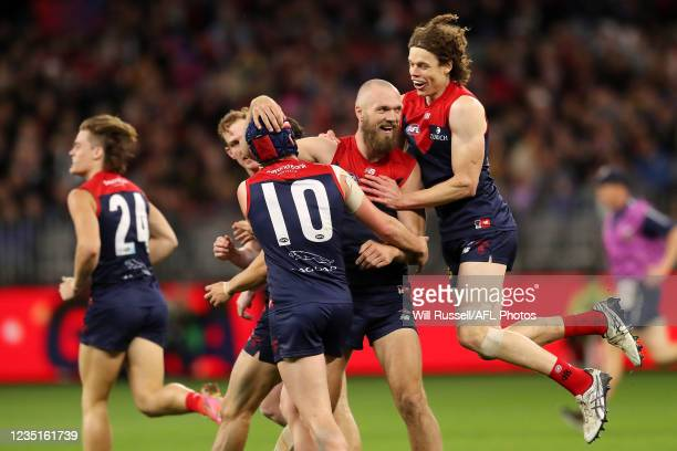 Max Gawn of the Demons celebrates after scoring a goal during the 2021 AFL First Preliminary Final match between the Melbourne Demons and the Geelong...