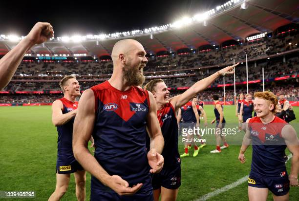 Max Gawn of the Demons celebrates after the Demons defeated the Cats during the AFL First Preliminary Final match between Melbourne Demons and...