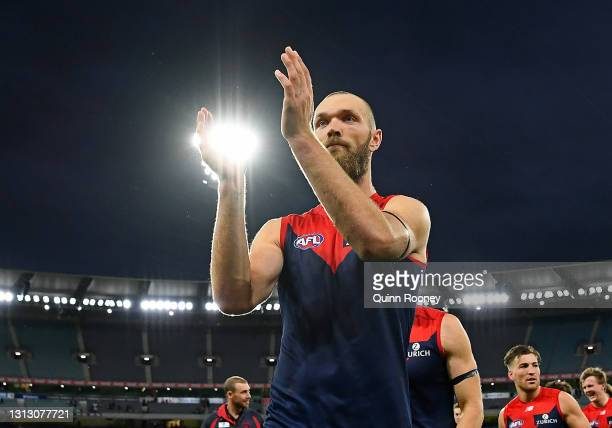 Max Gawn of the Demons celebrates winning the round five AFL match between the Hawthorn Hawks and the Melbourne Demons at Melbourne Cricket Ground on...