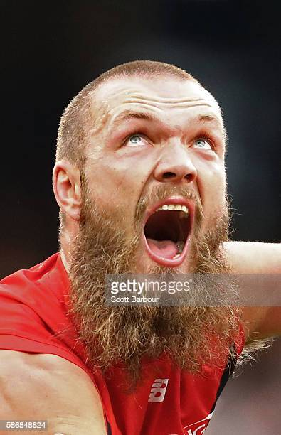 Max Gawn of the Demons compete for the ball during the round 20 AFL match between the Melbourne Demons and the Hawthorn Hawks at Melbourne Cricket...