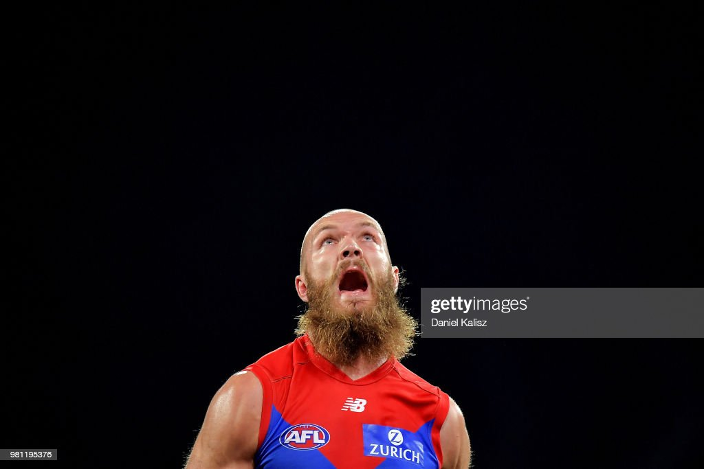 Max Gawn of the Demons competes for the ball during the round 14 AFL match between the Port Adelaide Power and the Melbourne Demons at Adelaide Oval on June 22, 2018 in Adelaide, Australia.