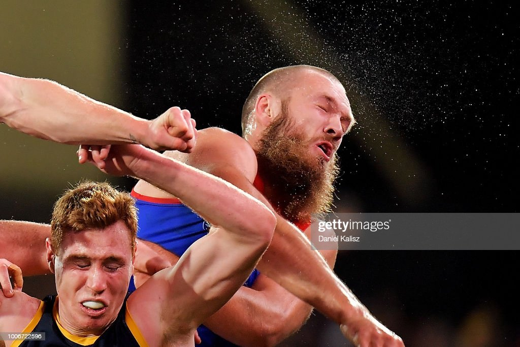 Max Gawn of the Demons competes for the ball during the round 19 AFL match between the Adelaide Crows and the Melbourne Demons at Adelaide Oval on July 28, 2018 in Adelaide, Australia.