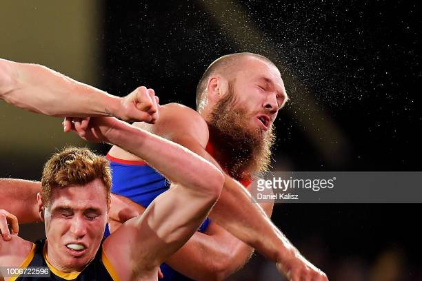 Max Gawn of the Demons competes for the ball during the round 19 AFL match between the Adelaide Crows and the Melbourne Demons at Adelaide Oval on...