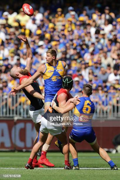 Max Gawn of the Demons contests a ruck with Nathan Vardy of the Eagles during the AFL Prelimary Final match between the West Coast Eagles and the...
