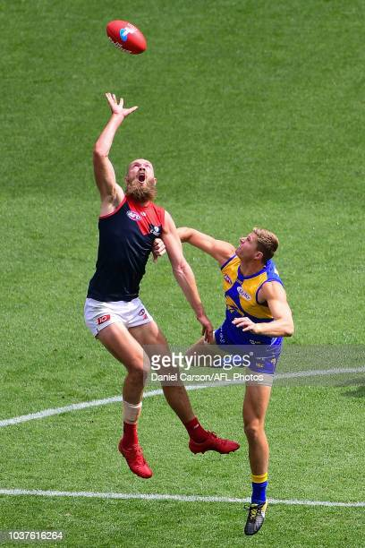 Max Gawn of the Demons contests a ruck with Nathan Vardy of the Eagles during the 2018 AFL Second Preliminary Final match between the West Coast...