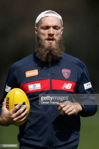 Max Gawn of the Demons jogs laps during a Melbourne Demons AFL training session at Gosch's Paddock on September 17 2018 in Melbourne Australia