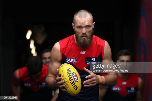 Max Gawn of the Demons leads out his teammates for the round 5 AFL match between the Melbourne Demons and the Richmond Tigers at Melbourne Cricket...