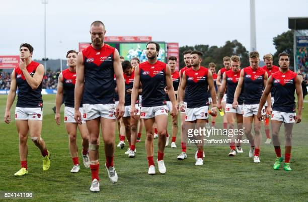 Max Gawn of the Demons looks dejected after a loss during the 2017 AFL round 19 match between the North Melbourne Kangaroos and the Melbourne Demons...