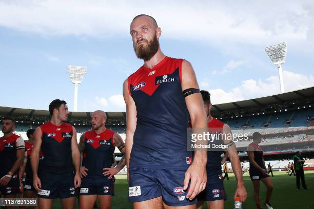 Max Gawn of the Demons looks dejected after defeat during the round one AFL match between the Melbourne Demons and the Port Adelaide Power at...