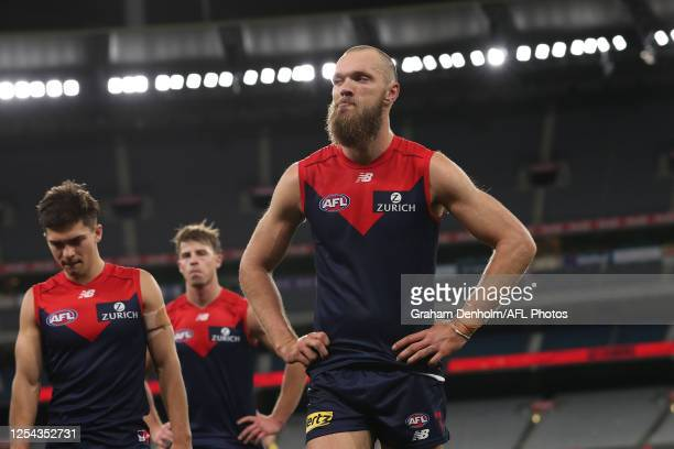 Max Gawn of the Demons looks dejected following defeat in the round 5 AFL match between the Melbourne Demons and the Richmond Tigers at Melbourne...