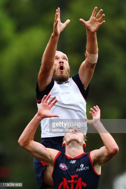 Max Gawn of the Demons marks the ball during a Melbourne Demons AFL training session at Gosch's Paddock on February 18 2019 in Melbourne Australia