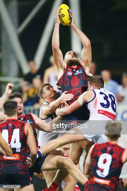 Max Gawn of the Demons marks the ball during the round 16 AFL match between the Melbourne Demons and the Fremantle Dockers at TIO Stadium on July 7...