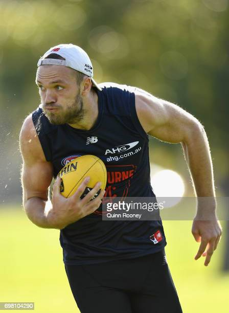Max Gawn of the Demons runs with the ball during a Melbourne Demons AFL training session at Gosch's Paddock on June 20 2017 in Melbourne Australia