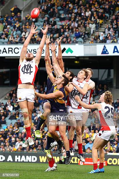 Max Gawn of the Demons sets for a mark during the round 18 AFL match between the West Coast Eagles and the Melbourne Demons at Domain Stadium on July...
