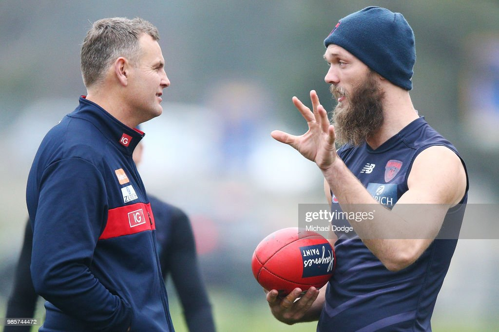 Max Gawn of the Demons speaks to ruck coach Grant Stafford during a Melbourne Demons AFL training session at Gosch's Paddock on June 28, 2018 in Melbourne, Australia.