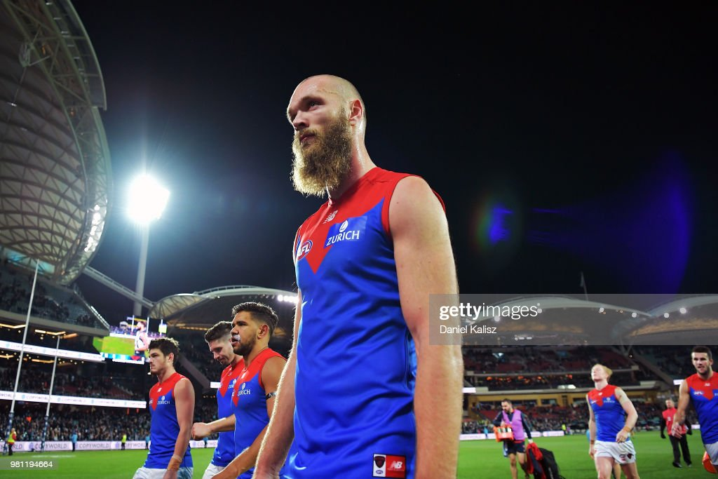 Max Gawn of the Demons walks from the ground after the round 14 AFL match between the Port Adelaide Power and the Melbourne Demons at Adelaide Oval on June 22, 2018 in Adelaide, Australia.