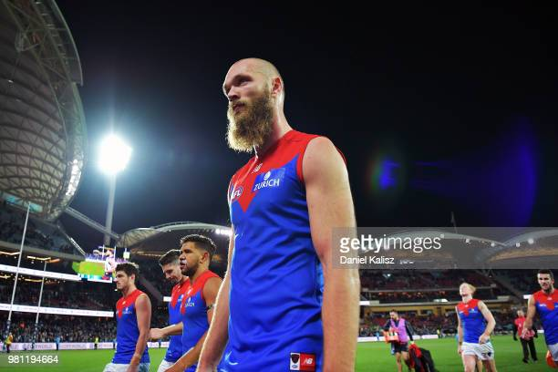 Max Gawn of the Demons walks from the ground after the round 14 AFL match between the Port Adelaide Power and the Melbourne Demons at Adelaide Oval...