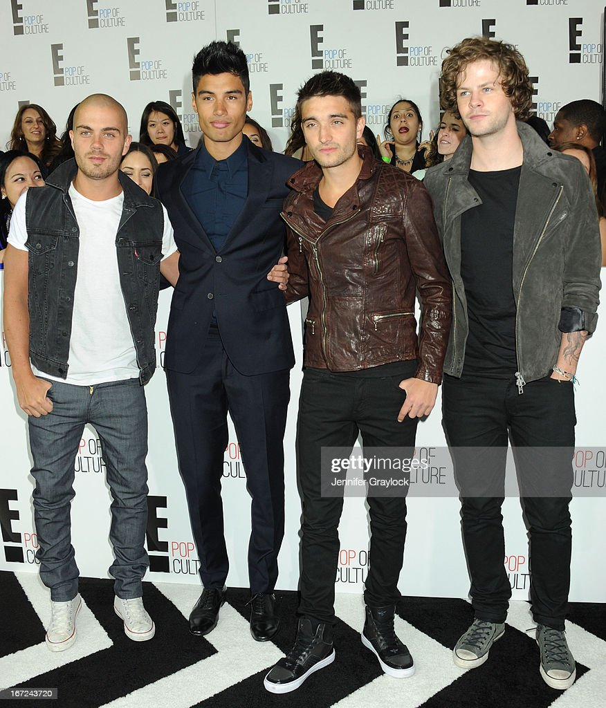 Max George, Siva Kaneswaran, Nathan Sykes and Jay McGuiness of The Wanted attend the E! 2013 Upfront at The Grand Ballroom at Manhattan Center on April 22, 2013 in New York City.