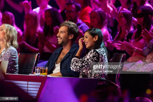 Max Giesinger and Collien UlmenFernandes during the first liveshow of The Masked Singer at Coloneum on June 27 2019 in Cologne Germany