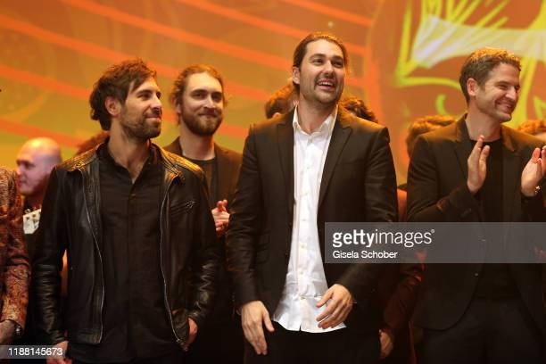 Max Giesinger and David Garrett during the 25th annual Jose Carreras Gala final applause on December 12, 2019 at Messe Leipzig in Leipzig, Germany.