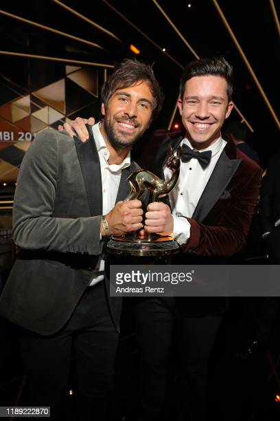 Max Giesinger and Nico Santos pose during the 71st Bambi Awards show at Festspielhaus BadenBaden on November 21 2019 in BadenBaden Germany