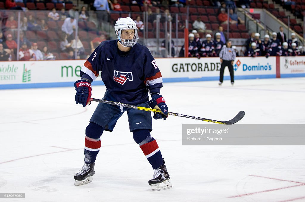 Max Gildon #8 of the U.S. National Under-18 Team skates against the Boston University Terriers during NCAA exhibition hockey at Agganis Arena on October 6, 2016 in Boston, Massachusetts. The Terriers won 8-2.