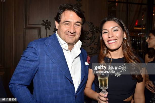 Max Girombelli and Elizabeth Calvo attend Christopher R King Debuts New Luxury Brand CCCXXXIII at Baccarat Hotel on June 5 2018 in New York City