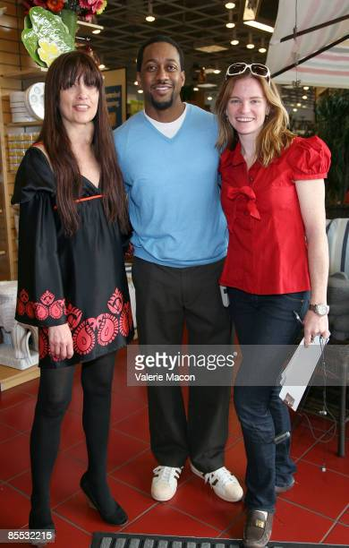 Max Goldenson executive producer actor Jaleel White and director Annie Lukowski pose on the set of on the MWG Enertainment New Web Series 'Road to...