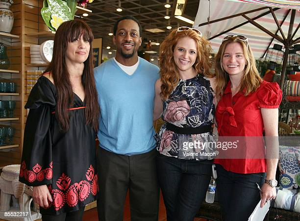 Max Goldenson executive producer actors Jaleel White Leyna Juliet Weber and director Annie Lukowski pose on the set of on the MWG Enertainment New...