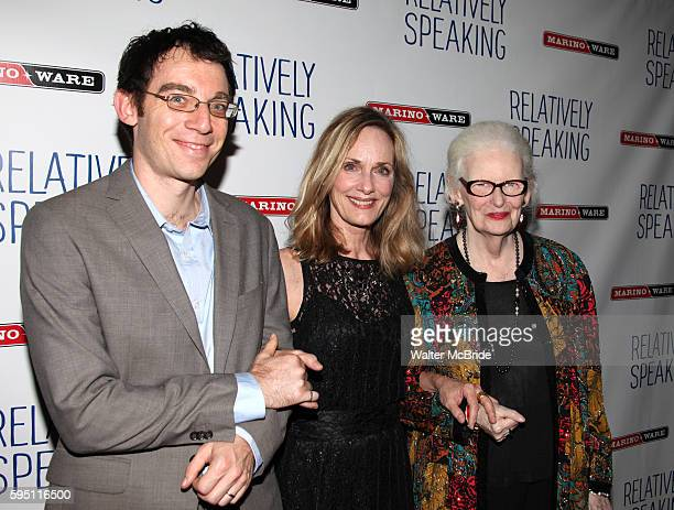 Max Gordon Moore & Lisa Emery & Patricia O'Connell attending the Opening Night after party for 'Relatively Speaking' at the Bryant Park Grill in New...