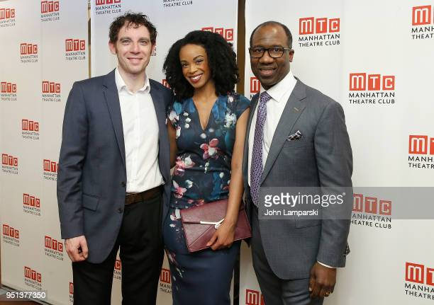 Max Gordon Moore Mandi Masden and Russell G Jones attend 'Saint Joan' Broadway Opening Night after party at Copacabana on April 25 2018 in New York...