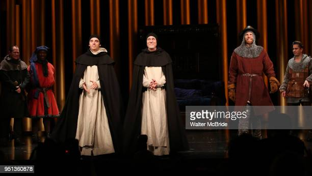 Max Gordon Moore Patrick Page and Robert Stanton with cast during the Broadway Opening Night Curtain Call for 'Saint Joan' at the Samuel J Friedman...