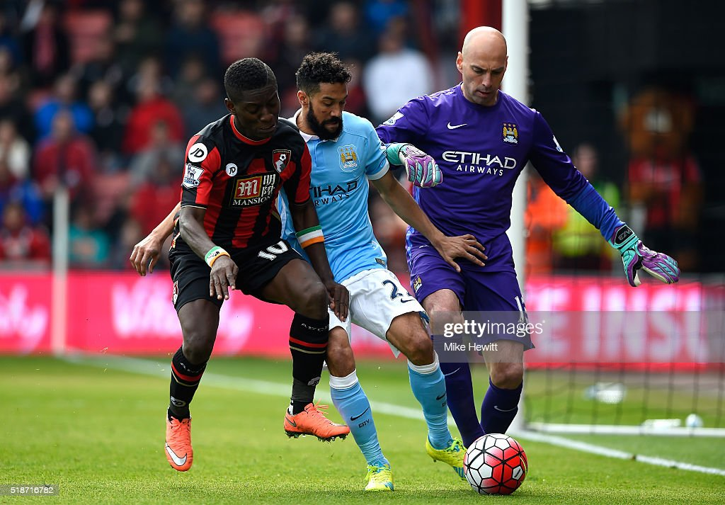 Max Gradel (L) of Bournemouth competes for the ball against Gael Clichy (C) and Wilfredo Caballero (R) of Manchester City during the Barclays Premier League match between A.F.C. Bournemouth and Manchester City at Vitality Stadium on April 2, 2016 in Bournemouth, England.