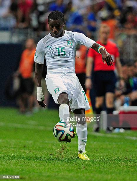 Max Gradel of the Ivory Coast handles the ball against the BosniaHerzegovina during the first half of a friendly match at Edward Jones Dome on May 30...