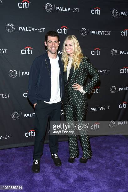 """Max Greenfield and Beth Behrs from """"The Neighborhood"""" attend The Paley Center for Media's 2018 PaleyFest Fall TV Previews - CBS at The Paley Center..."""