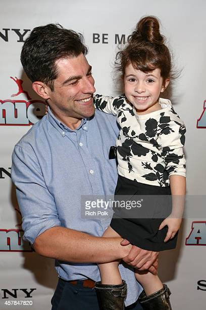 Max Greenfield and daughter Lilly Greenfield host a screening of ANNIE for friends and family at Pacific Theaters at the Grove on October 25 2014 in...