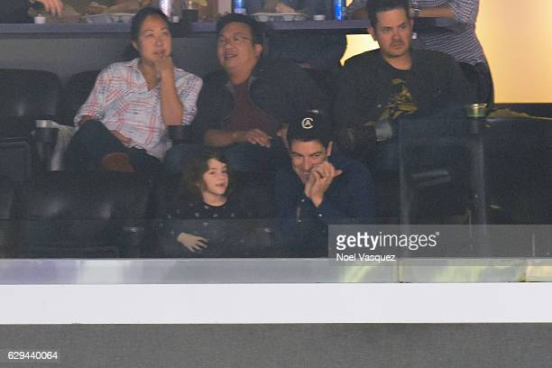 Max Greenfield and Lilly Greenfield attend a basketball game between the Portland Trail Blazers at Staples Center on December 12 2016 in Los Angeles...