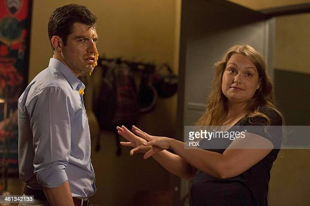 Max Greenfield and Merritt Wever in the 'Double Date' episode of NEW GIRL airing Tuesday Oct 1 2013 on FOX