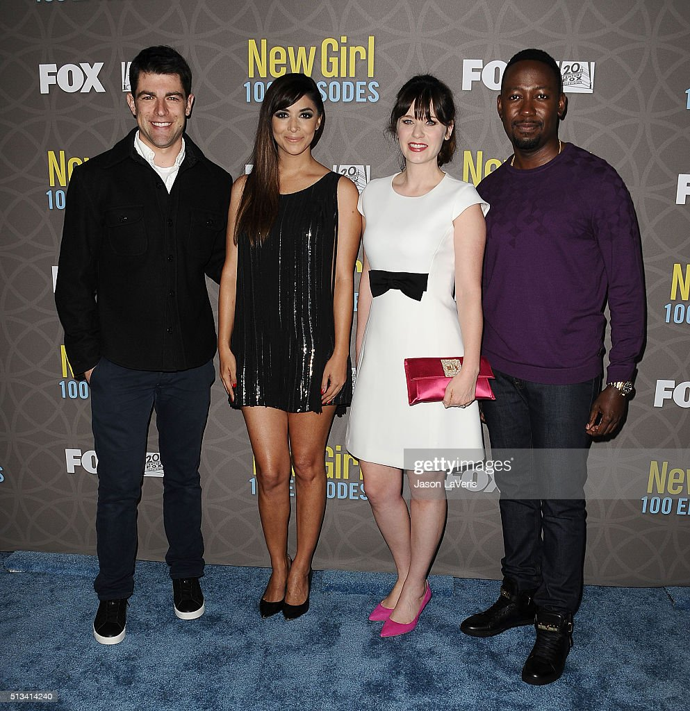 Max Greenfield, Hannah Simone, Zooey Deschanel and Lamorne Morris attend Fox's 'New Girl' 100th episode party at W Los Angeles West Beverly Hills on March 2, 2016 in Los Angeles, California.
