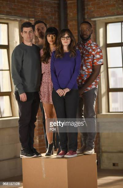 """Max Greenfield, Jake Johnson, Hannah Simone, Zooey Deschanel and Lamorne Morris in """"Engram Pattersky,"""" the second part of the special one-hour series..."""