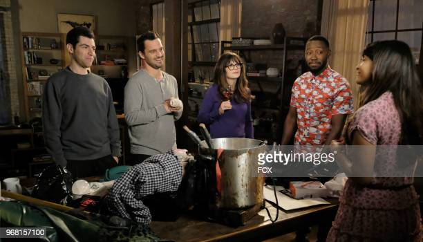 """Max Greenfield, Jake Johnson, Zooey Deschanel, Lamorne Morris and Hannah Simone in """"Engram Pattersky,"""" the second part of the special one-hour series..."""