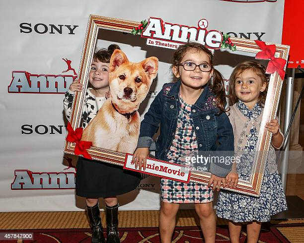 Max Greenfield's daughter Lilly Greenfield and her friends at a screening of ANNIE for friends and family at Pacific Theaters at the Grove on October...