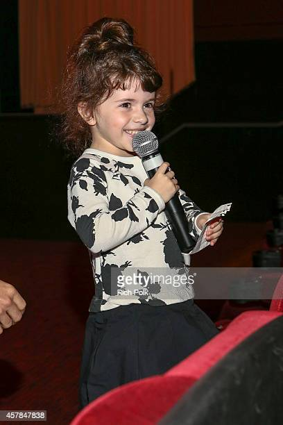 Max Greenfield's daughter Lilly Greenfield speaks at a screening of ANNIE for friends and family at Pacific Theaters at the Grove on October 25 2014...