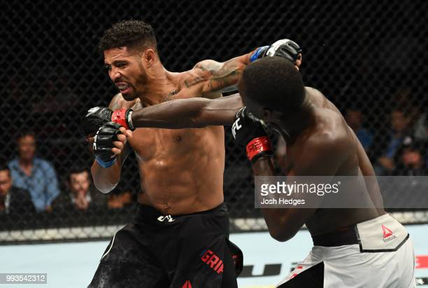 Max Griffin and Curtis Millender trade punches in their welterweight fight during the UFC 226 event inside TMobile Arena on July 7 2018 in Las Vegas...